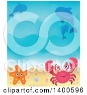 Clipart Of A Background Of Ocean Waves On A Sandy Beach With Pebbles A Shell Crab Dolphins And Starfish Royalty Free Vector Illustration