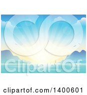 Clipart Of A Sunny Summer Sunset And Bay Royalty Free Vector Illustration