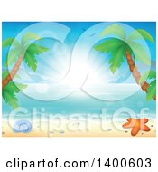 Clipart Of A Background Of A Sandy Beach With Palm Trees A Shell And Starfish At Sunrise Royalty Free Vector Illustration by visekart