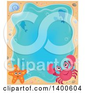Clipart Of A Background Border Of A Crab Shell Starfish Dolphins And Sand Around Water Royalty Free Vector Illustration