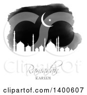 Clipart Of A Black And White Watercolor Ramadan Kareem Background With A Silhouetted Mosque And Moon Royalty Free Vector Illustration