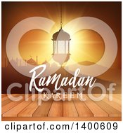 Clipart Of A Ramadan Kareem Background With A Silhouetted Mosque And Lantern Over A Sunset And Table Royalty Free Vector Illustration by KJ Pargeter