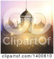 Clipart Of A Ramadan Kareem Background With A Silhouetted Mosque And Lantern Over Bokeh Royalty Free Vector Illustration by KJ Pargeter