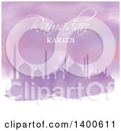 Clipart Of A Purple Watercolor Ramadan Kareem Background With A Silhouetted Mosque Royalty Free Vector Illustration