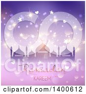 Clipart Of A Ramadan Kareem Background With A Silhouetted Mosque Over Purple With Flares Royalty Free Vector Illustration by KJ Pargeter