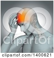 Clipart Of A 3d Anatomical Man With A Glowing Headache And Barely Visible Spine On A Gray Background Royalty Free Illustration by KJ Pargeter