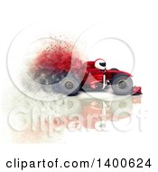 3d Driver In A Formula One Race Car With Speed Effect On A White Background