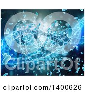 Clipart Of A 3d Medical Background Of Dna Strands And Viruses On Blue Royalty Free Illustration