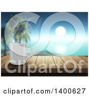 Clipart Of A 3d Steamy White Coffee Mug On A Wooden Bar Overlooking A Tropical Beach Royalty Free Illustration