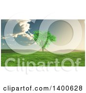 3d Lone Tree In A Landscape With A Storm Approaching