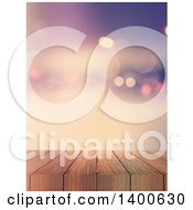 Clipart Of A 3d Wood Bar Or Deck With A Blurred Background Royalty Free Illustration
