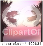 Clipart Of A Background Of Silhouetted Palm Trees Over A Pink Sunset Royalty Free Vector Illustration