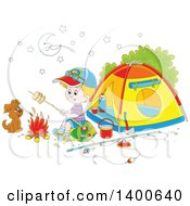 Clipart Of A Happy White Boy And Puppy Roasting Over A Fire At A Camp Site Royalty Free Vector Illustration