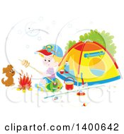 Clipart Of A Happy Blond Caucasian Boy And Puppy By A Fire At A Camp Site Royalty Free Vector Illustration by Alex Bannykh