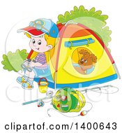 Clipart Of A Happy Blond White Boy And Puppy At A Camp Site Royalty Free Vector Illustration