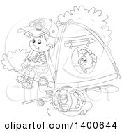 Clipart Of A Black And White Lineart Boy And Puppy At A Camp Site Royalty Free Vector Illustration by Alex Bannykh