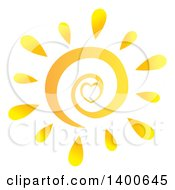 Clipart Of A Spiral And Heart Summer Sun Royalty Free Vector Illustration by Hit Toon
