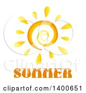 Clipart Of A Spiral And Heart Sun Over Summer Text Royalty Free Vector Illustration