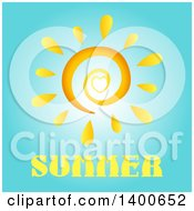 Clipart Of A Spiral And Heart Sun Over Summer Text On Blue Royalty Free Vector Illustration
