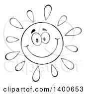 Clipart Of A Black And White Lineart Happy Sun Smiling Royalty Free Vector Illustration