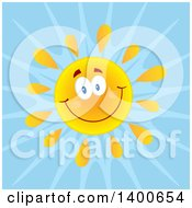 Clipart Of A Happy Sun Smiling Over Blue Royalty Free Vector Illustration