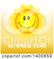 Clipart Of A Happy Sun Smiling Over Summer Time Text Royalty Free Vector Illustration