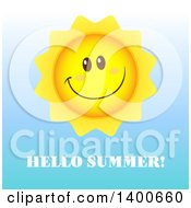 Clipart Of A Happy Sun Smiling Over Hellow Summer Text Royalty Free Vector Illustration