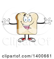 Clipart Of A White Sliced Bread Character Mascot With Open Arms Royalty Free Vector Illustration