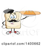 Clipart Of A White Sliced Bread French Character Mascot Holding A Loaf Royalty Free Vector Illustration