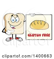 Clipart Of A White Sliced Bread Character Mascot Holding A Gluten Free Sign Royalty Free Vector Illustration