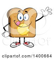 Clipart Of A Waving Toasted Bread Character Mascot With Butter Royalty Free Vector Illustration