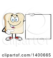 Clipart Of A White Sliced Bread Character Mascot Pointing To A Blank Sign Royalty Free Vector Illustration