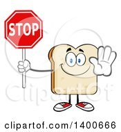 Clipart Of A White Sliced Bread Character Mascot Holding A Stop Sign Royalty Free Vector Illustration