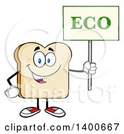 Clipart Of A White Sliced Bread Character Mascot Holding An Eco Sign Royalty Free Vector Illustration by Hit Toon
