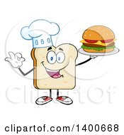 Clipart Of A White Sliced Bread Chef Character Mascot Serving A Cheeseburger Royalty Free Vector Illustration by Hit Toon