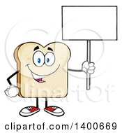 Clipart Of A White Sliced Bread Character Mascot Holding Up A Blank Sign Royalty Free Vector Illustration by Hit Toon