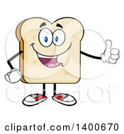 Clipart Of A White Sliced Bread Character Mascot Giving A Thumb Up Royalty Free Vector Illustration by Hit Toon
