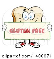 Clipart Of A White Sliced Bread Character Mascot Holding A Gluten Free Sign Royalty Free Vector Illustration by Hit Toon