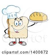 Clipart Of A White Sliced Bread Chef Character Mascot Serving A Loaf Royalty Free Vector Illustration by Hit Toon