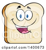 Clipart Of A White Sliced Bread Character Mascot Royalty Free Vector Illustration by Hit Toon