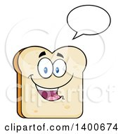 Clipart Of A White Sliced Bread Character Mascot Talking Royalty Free Vector Illustration by Hit Toon