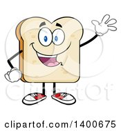 Clipart Of A White Sliced Bread Character Mascot Waving Royalty Free Vector Illustration by Hit Toon