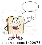 Clipart Of A White Sliced Bread Character Mascot Talking And Waving Royalty Free Vector Illustration by Hit Toon