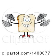 Clipart Of A White Sliced Bread Character Mascot Working Out With Dumbbells Royalty Free Vector Illustration by Hit Toon
