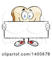 Clipart Of A White Sliced Bread Character Mascot Holding A Blank Sign Royalty Free Vector Illustration by Hit Toon