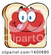 Clipart Of A White Sliced Bread Character Mascot With Jam Royalty Free Vector Illustration