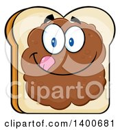 Clipart Of A White Sliced Bread Character Mascot With Peanut Butter Royalty Free Vector Illustration by Hit Toon