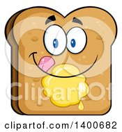 Clipart Of A Toasted Bread Character Mascot With Butter Royalty Free Vector Illustration by Hit Toon