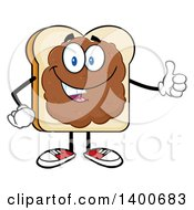Clipart Of A White Sliced Bread Character Mascot With Peanut Butter Giving A Thumb Up Royalty Free Vector Illustration