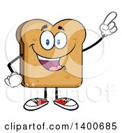 Clipart Of A Toasted Bread Character Mascot Holding Up A Finger Royalty Free Vector Illustration by Hit Toon